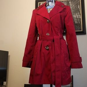 Liz Claiborne water resistant red trench coat